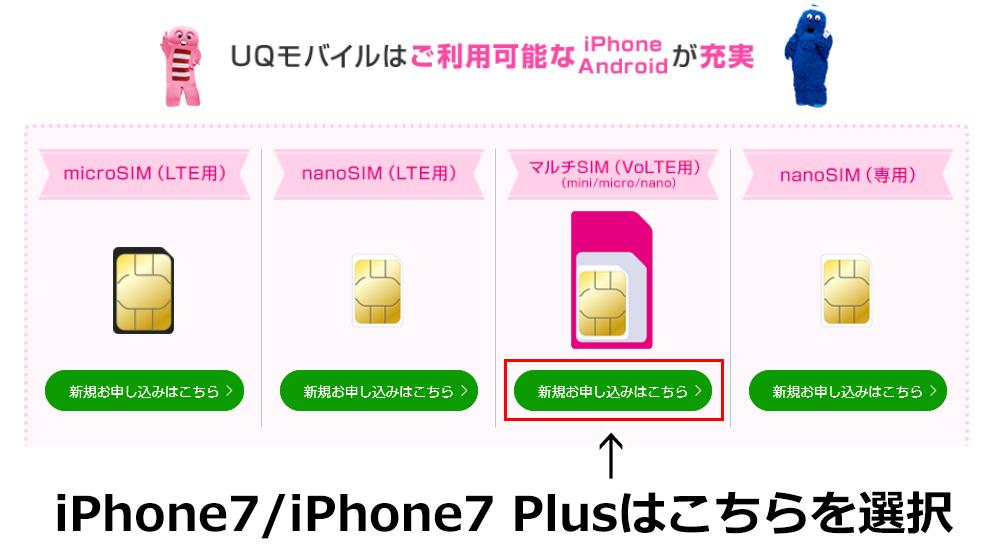 UQモバイルのSIMタイプ選択画面