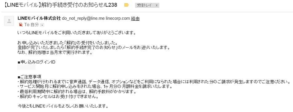 LINEモバイルの解約後に届くメール画像
