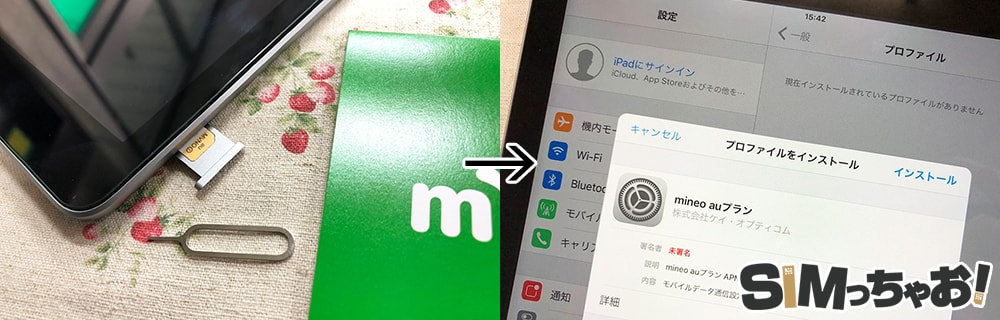 マイネオのSIMカードとiPadの初期設定の画像