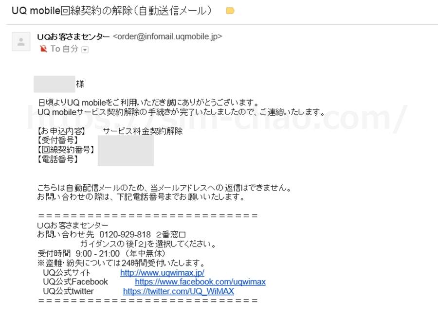 UQモバイルの回線契約解除の案内メールの画像