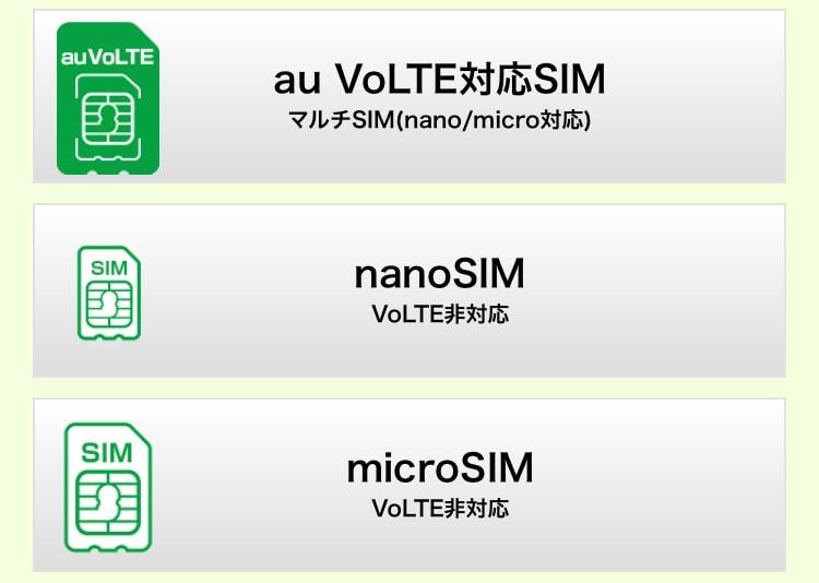 マイネオ申込み時のSIMカード選択画面の画像