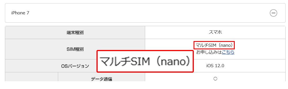 uqモバイルでSIM種類の確認画像