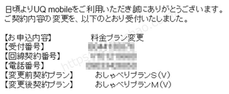 UQモバイルのプラン変更完了メールの画像