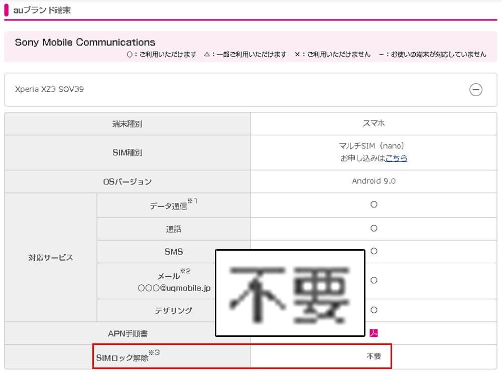 UQモバイルの動作確認ページでXperiaを調べた画像
