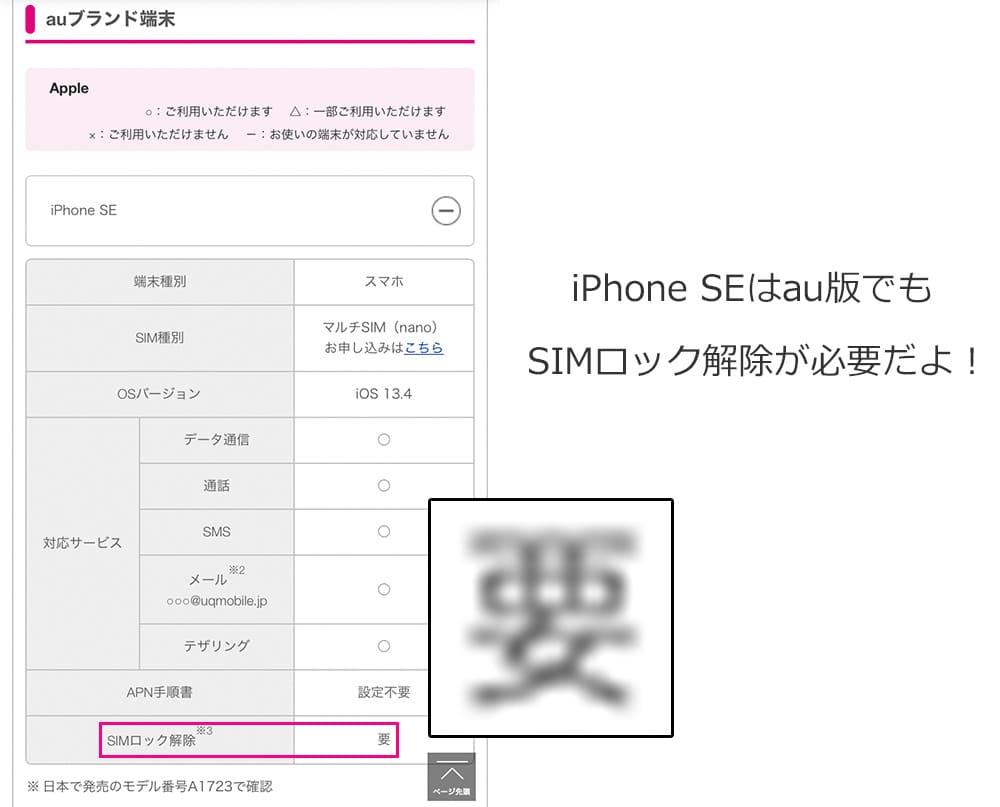 UQモバイルの動作確認端末一覧の画像