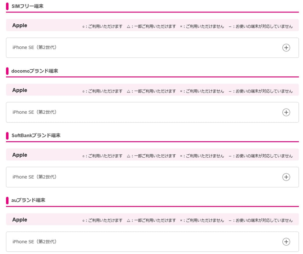 uqモバイルiPhonese2の動作確認端末一覧の画像